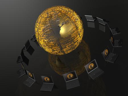 Network - notebooks and globe on black background, 3D illustration. Stock Photo