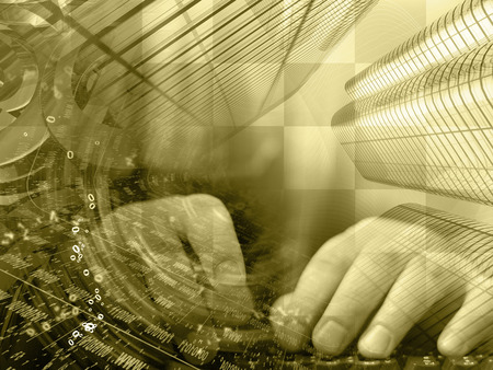 Abstract digital background in sepia - hands, digits and keyboard. Stock Photo