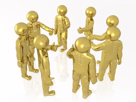 A group of gold mans on the white background, 3D illustration.