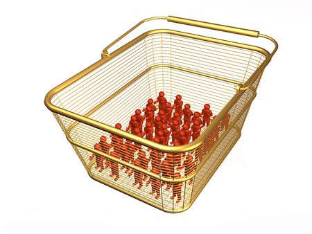 Shopping basket with mans on white background, 3D illustration. Stock fotó