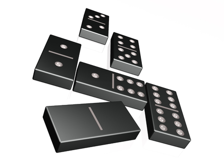 Abstract picture - black blocks on white, 3D illustration.