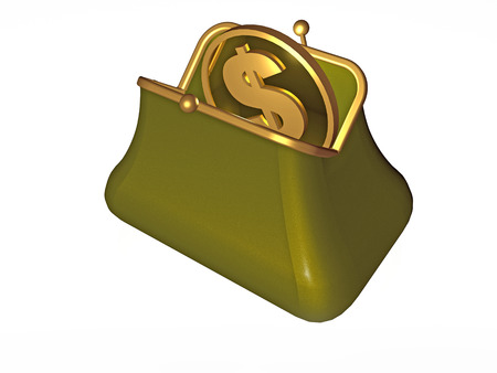 Money and purse on white background, 3D illustration.