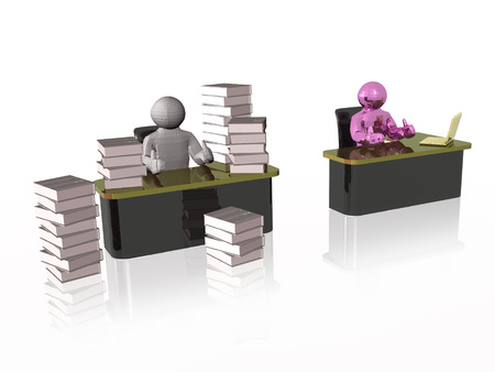 Mans, computer and document cases, white reflective background, 3D illustration.