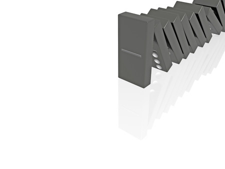 Abstract picture - black dominoes on white, 3D illustration. Фото со стока