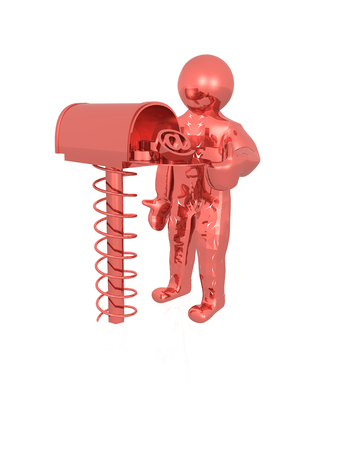 Communication - red man and mail box on white background, 3D illustration. Stock Photo