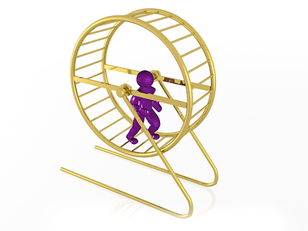 Man in the squirrel cage on white background, 3D illustration. 写真素材