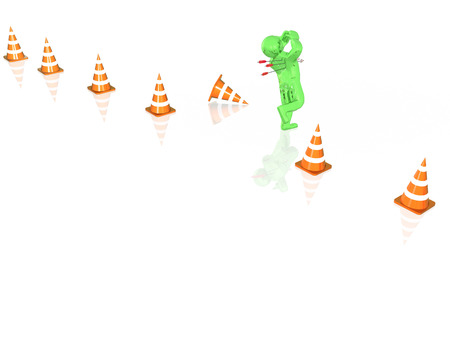 Running man and arrows, white background, 3D illustration.
