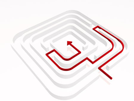 Gray labirinth with red arrows on white background, 3D illustration.