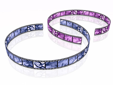 Film roll with toned pictures (business) on white, 3D illustration.