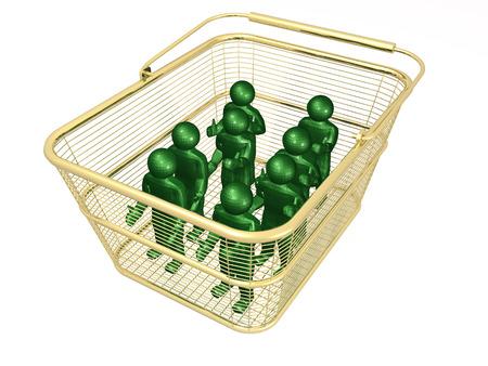 Shop basket with mans on white background, 3D illustration. Stock fotó - 100986518