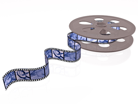 Film roll with blue pictures (business) on white, 3D illustration.