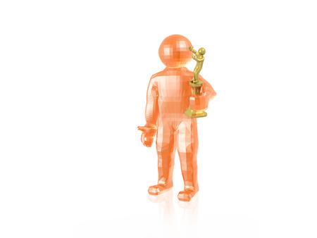 Orange man with award, white reflective background, 3D illustration. Stock Photo