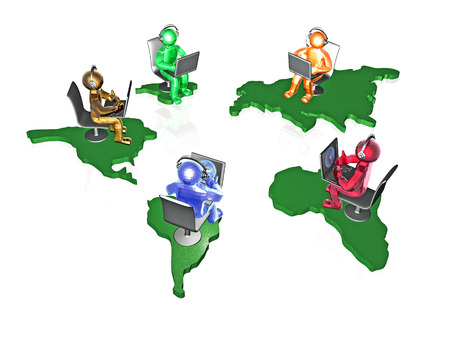 Color mans with continents on the white background, 3D illustration. Stock Photo