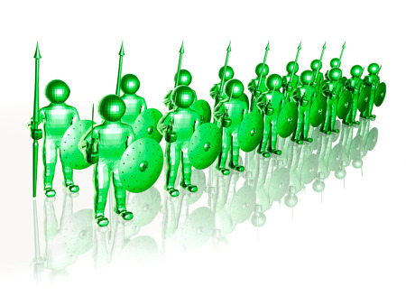 Green soldiers on white reflective background, 3D illustration.
