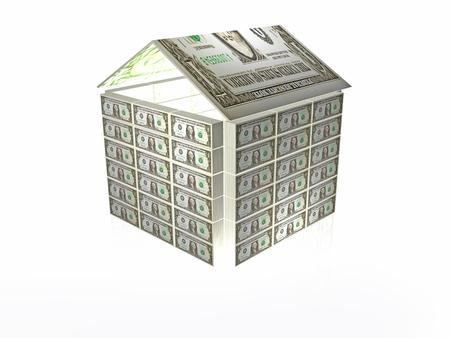 Financial allegory - dollar home, 3D illustration.