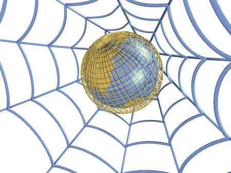 Network - web and globe on white background, 3D illustration.