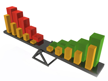 Equilibrium - statistic bars on the swing, 3D illustration.
