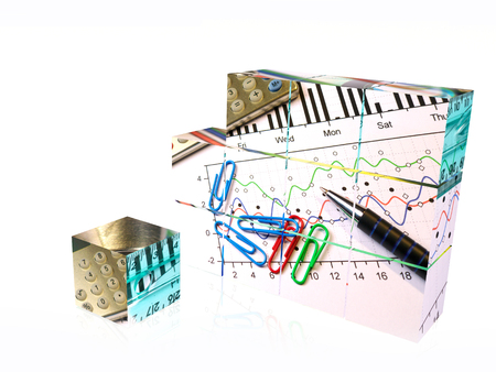 Cubes with pictures on the white background, 3D illustration. Imagens