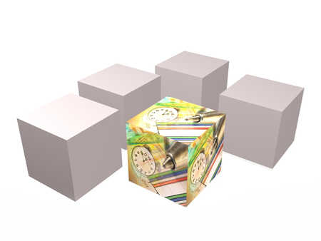 Cubes with pictures on the white background, 3D illustration. Stock fotó