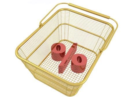 Shopping basket on white background, 3D illustration.