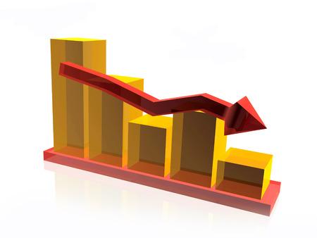 Statistic bars on white background, 3D illustration.