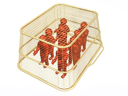 Shop basket with mans on white background, 3D illustration. Imagens - 102339671
