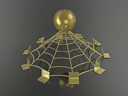 Gold globe and cobweb on black background, 3D illustration.