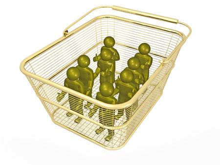 Shop basket with mans on white background, 3D illustration. Imagens - 102339801