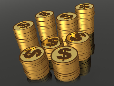 Stacks of gold coins on the black background, 3D illustration.