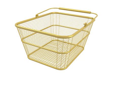 Shop basket on white background, 3D illustration.
