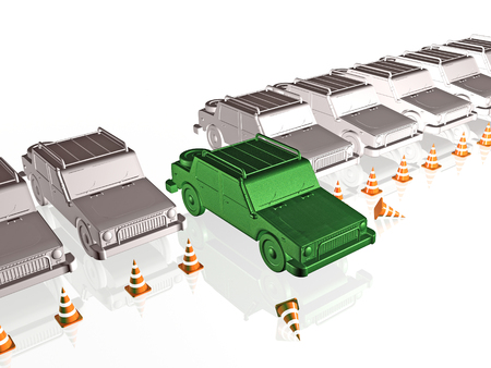 Gray cars and green car on white reflective background, 3D illustration.
