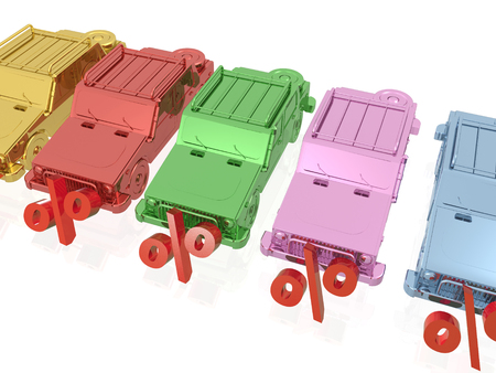 Color cars on white reflective background, 3D illustration. Stock Photo