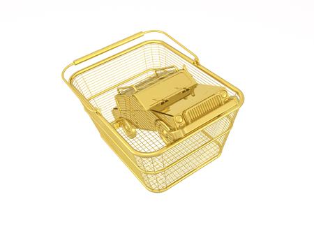Gold car in basket on white reflective background, 3D illustration. Stock fotó