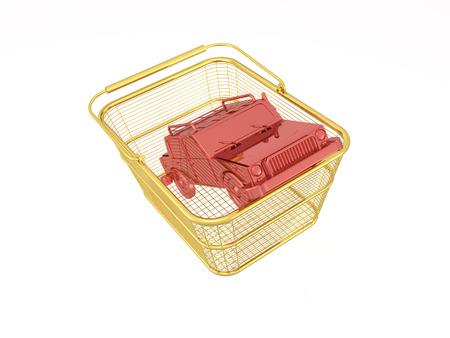 Red car in basket on white reflective background, 3D illustration. Stock fotó