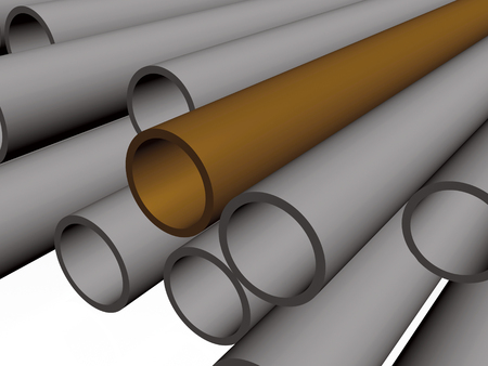 Brown and grey pipes as abstract background, 3D illustration. Stock Photo