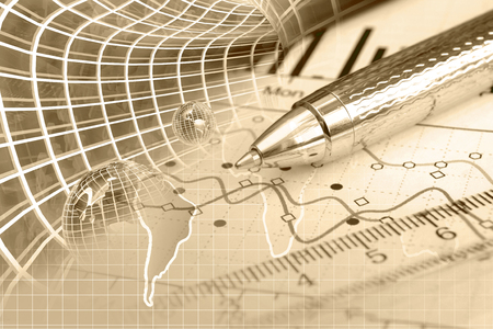 Business background with map, graph and pen, toned. Stock Photo