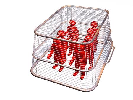 Shop basket with mans on white background, 3D illustration. Stock fotó - 103755221