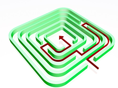 Green labirinth with red arrow on white background, 3D illustration.