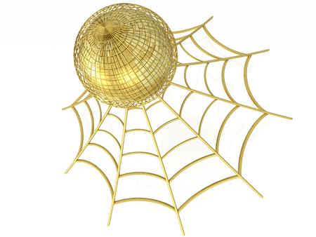 Network - cobweb and globe on white background, 3D illustration.