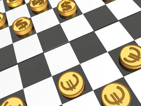 Checkers with coins on white background - allegory, 3D illustration.
