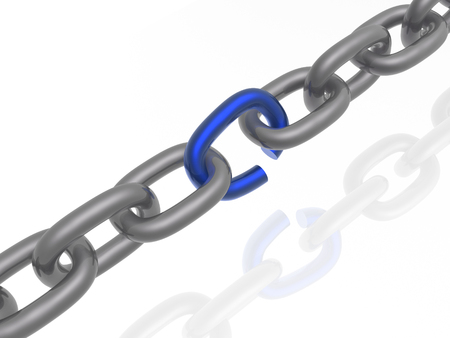 Grey chain with blue link, white background, 3D illustration. Stock Photo