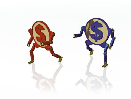 Running coins on white background, 3D illustration.