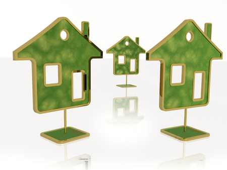 Green homes on white reflection background, 3D illustration. Imagens - 108809515