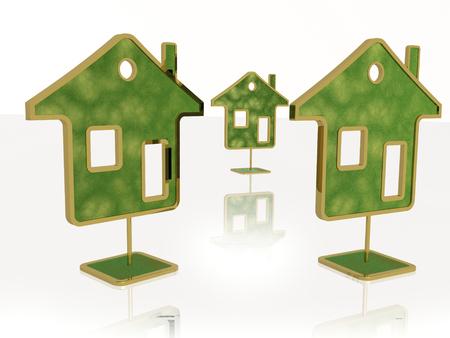 Green homes on white reflection background, 3D illustration.