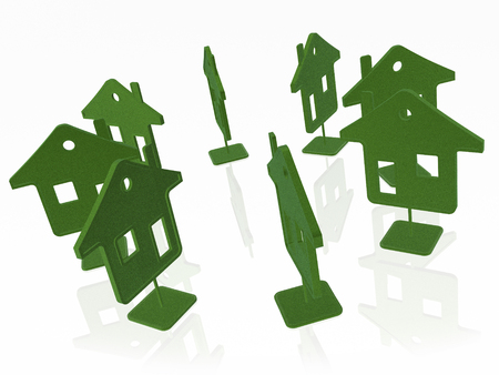 Green homes on white reflection background, 3D illustration.