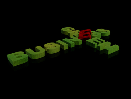 Greenand red letters on the black background, 3D illustration.