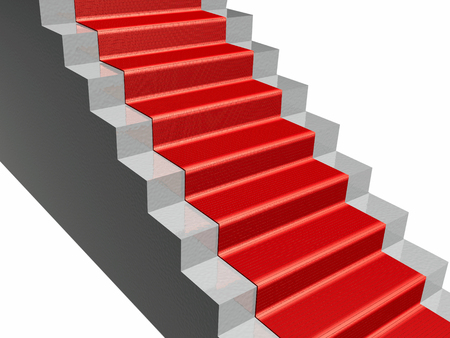 Stairs with red carpet, white background, 3D illustration.