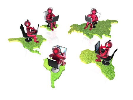 Red mans with continents on the white background, 3D illustration. Stock fotó