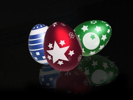 Easter eggs on black reflective background, 3D illustration.