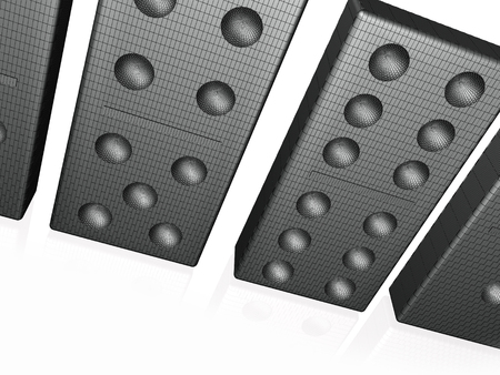 Abstract picture - black dominoes on white, 3D illustration. Stok Fotoğraf